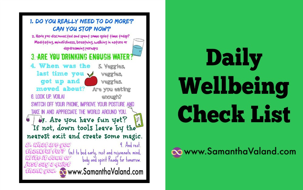 Daily Wellbeing Check List – Free Poster